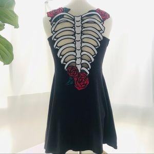 Hell Bunny black skeleton dress extra small